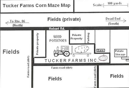 Map to Tucker Farms and Corn Maze Fields